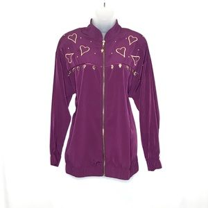 Silver Threads vintage embroidered hearts bomber
